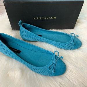 Ann Taylor Suede Ballet Shoes Turquoise 7